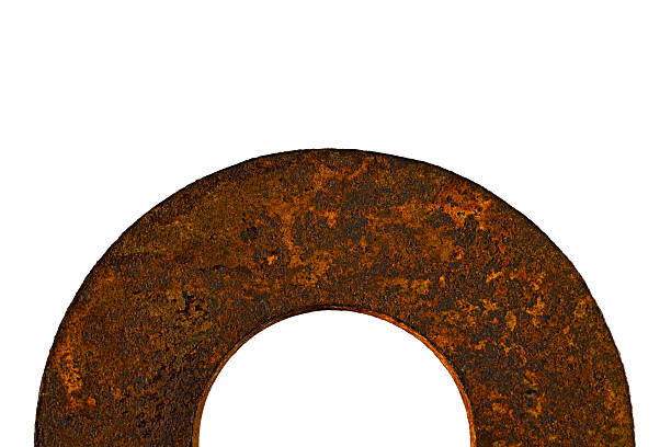 Rusty old round metal washer spacer – Foto