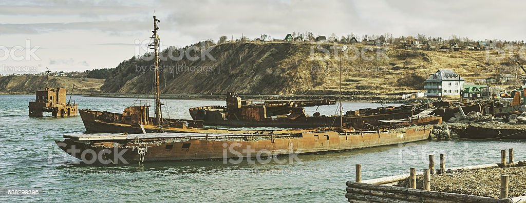 Rusty Old Shipwreck Ruins Coast Sakhalin Island Far East