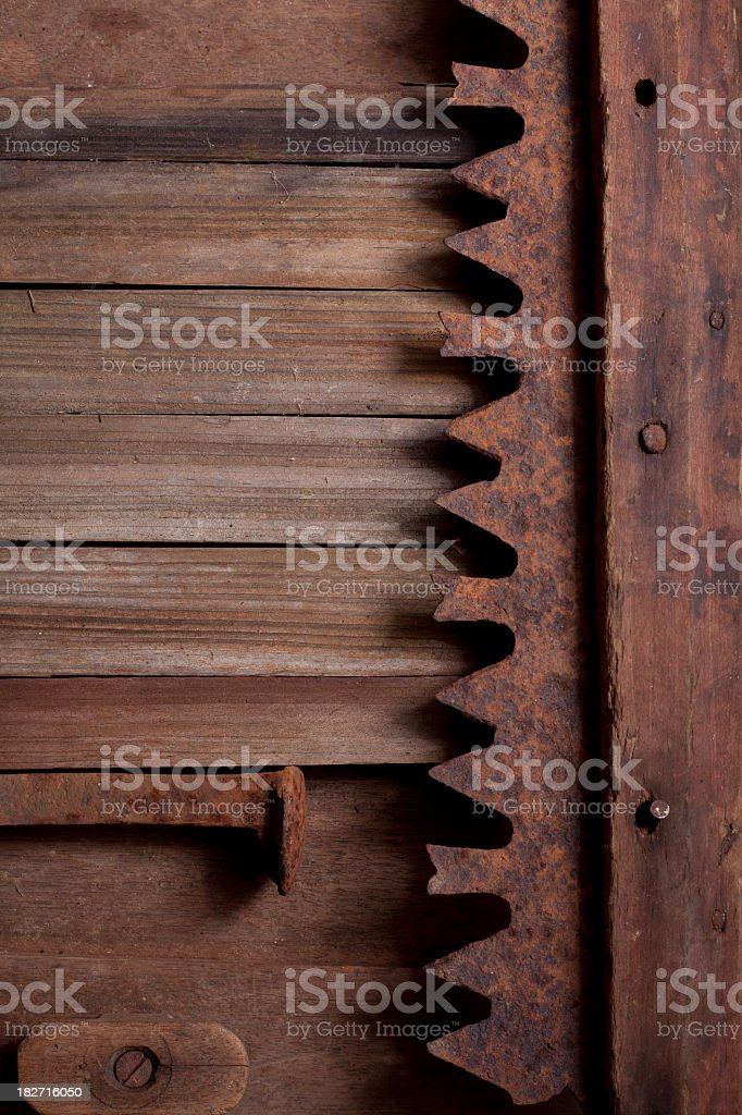 Rusty Old Tools and Wood stock photo