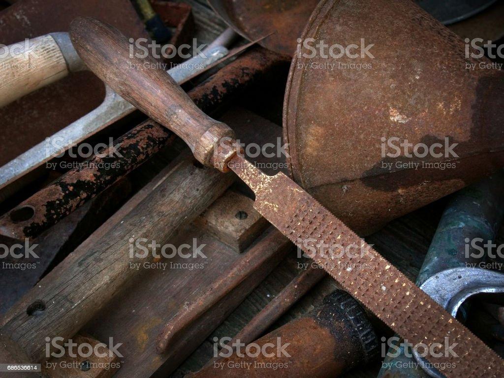 Rusty old tools royalty free stockfoto