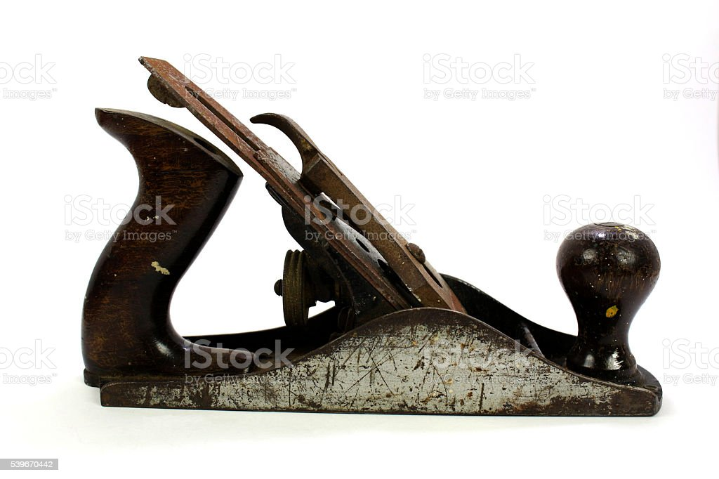 Rusty Old Wood Plane On White stock photo