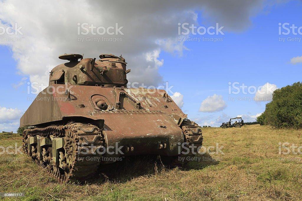 Rusty old WW II and Cold War Sherman tank stock photo