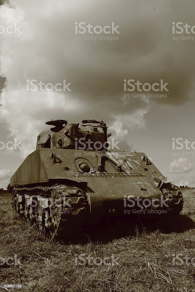 Rusty old WW II and Cold War Sherman tank royalty-free stock photo