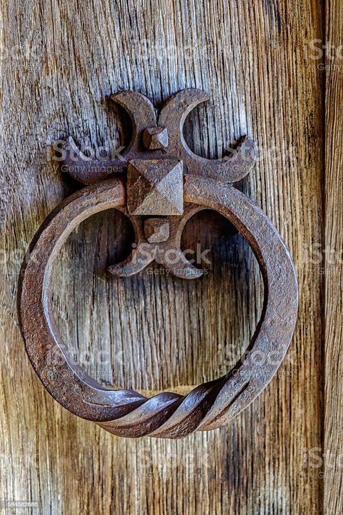 Attractive Rusty Ornate Door Knocker Royalty Free Stock Photo