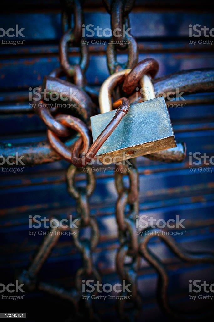 rusty padlock and chain royalty-free stock photo