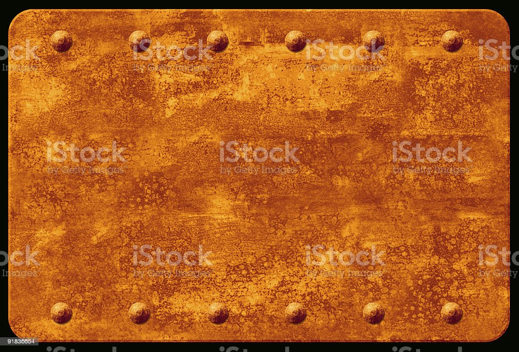 Rusty Plaque with Rivets royalty-free stock photo
