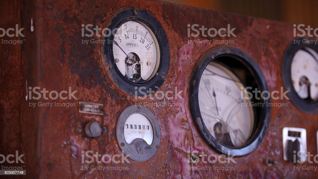 Rusty power gauges stock photo