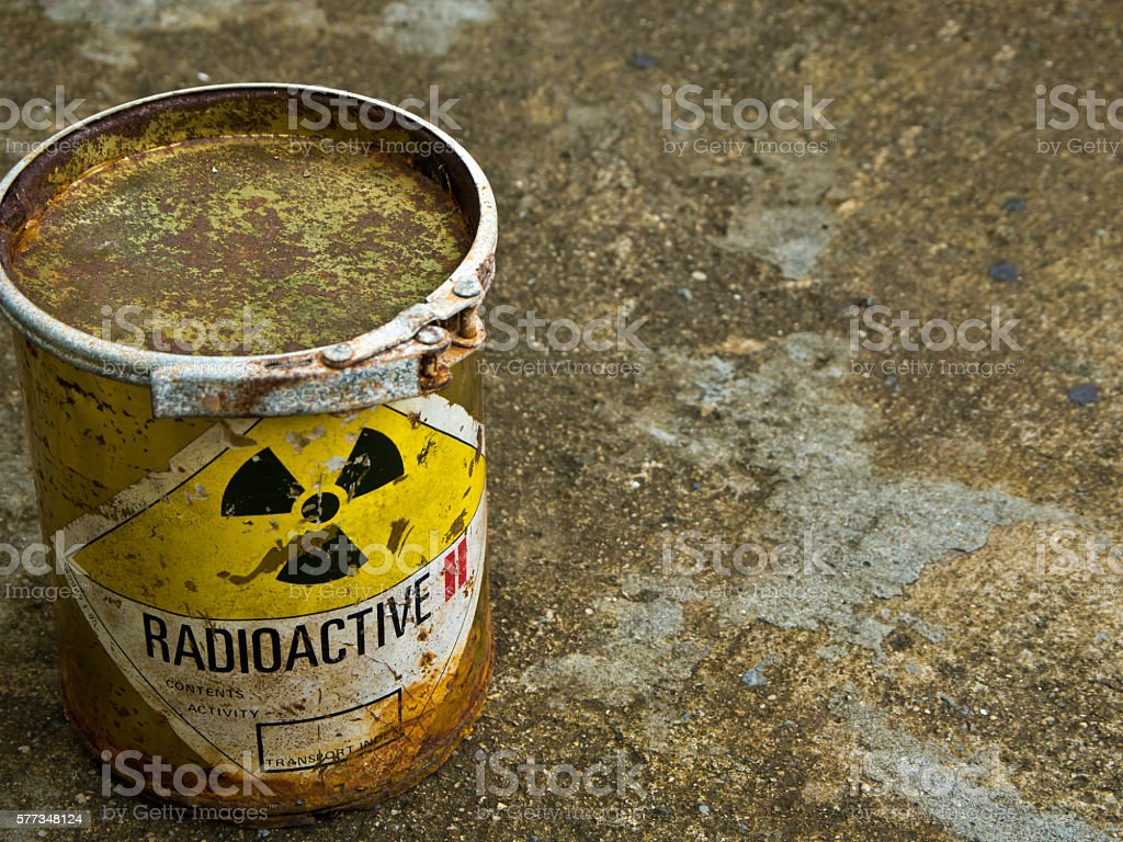 Rusty Radioative material container stock photo