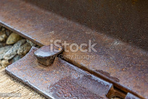 Closeup of a rusty, old railroad spike on abandoned railroad tracks in New Hampshire