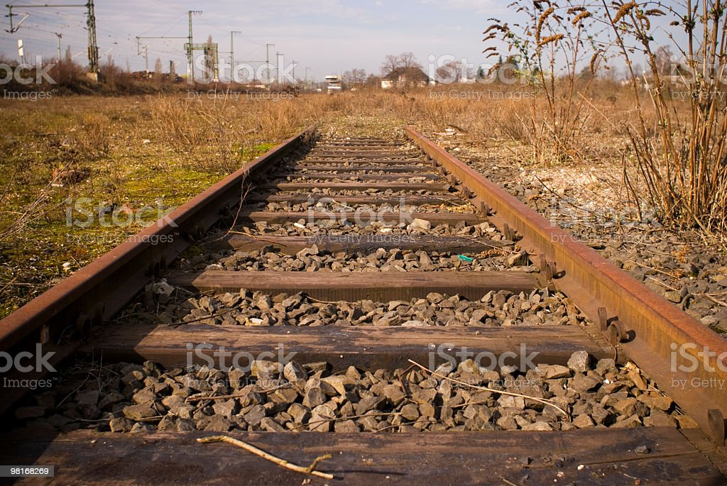 Rusty railroad tracks at abandoned freight yard in Cologne royalty-free stock photo