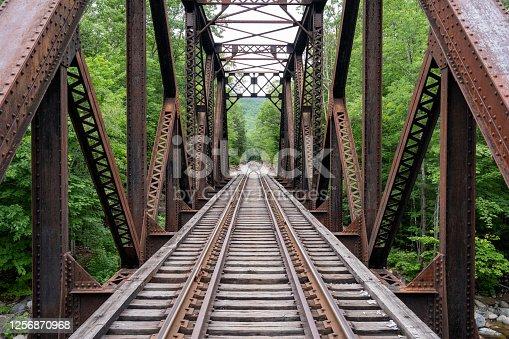 istock Rusty railway truss bridge 1256870968