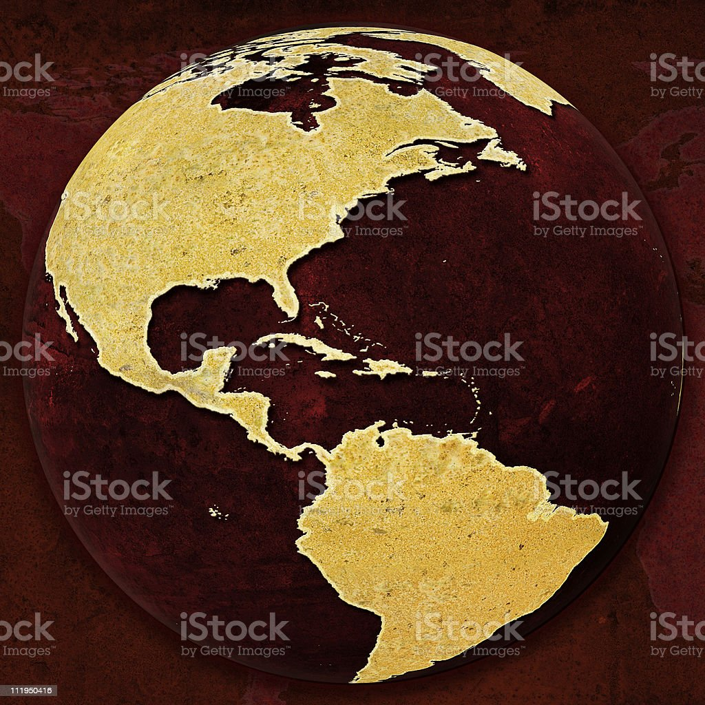 Rusty Red Globe on background The Americas royalty-free stock photo
