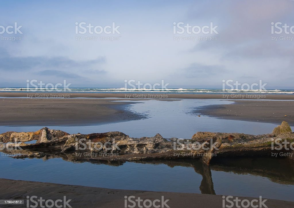 Rusty relic of a shipwreck royalty-free stock photo