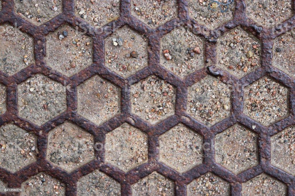 Rusty Road Hatch. Iron Manhole Urban Art. stock photo