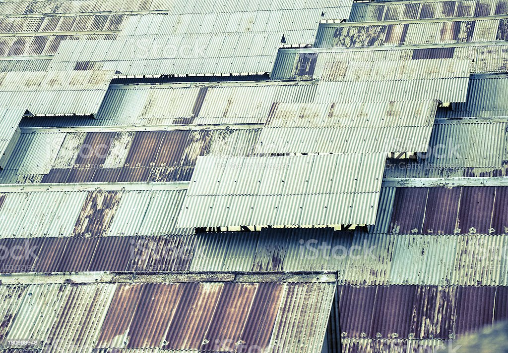 rusty roof of a factory royalty-free stock photo