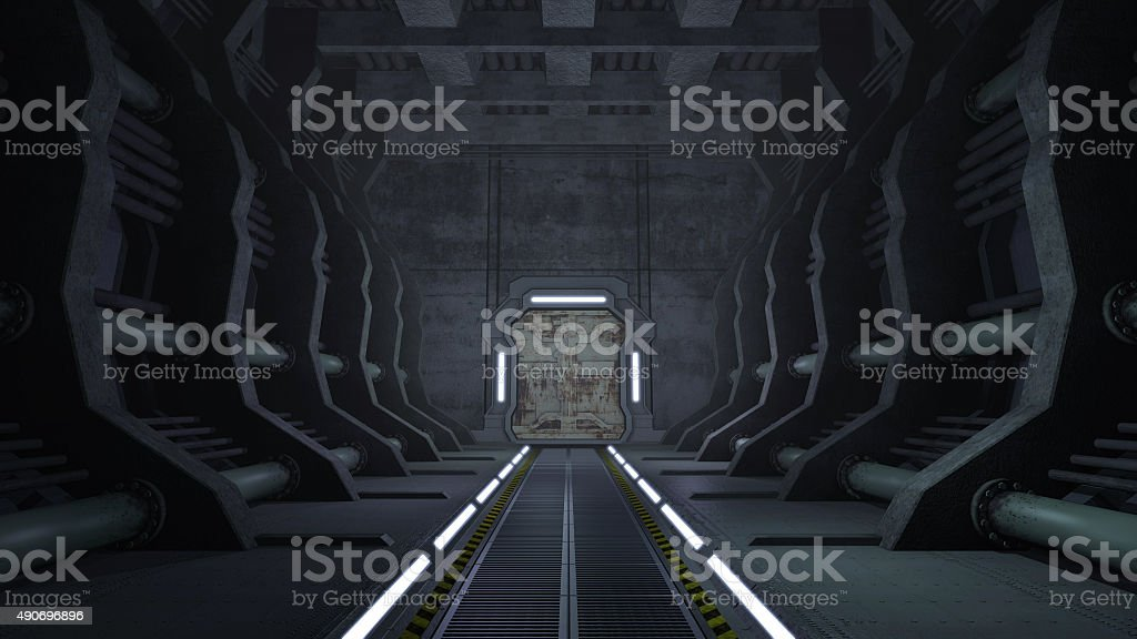 Rusty sci-fi corridor with doors stock photo