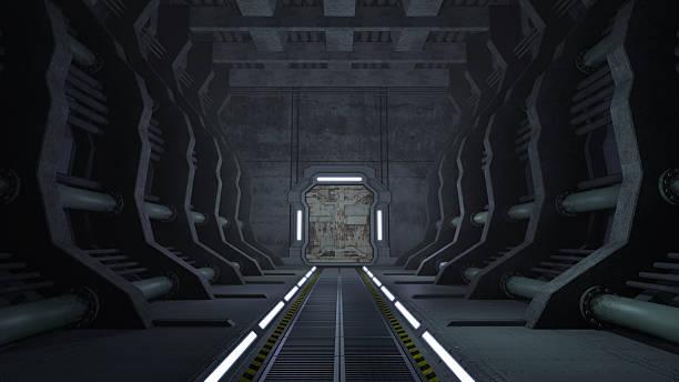 rusty sci-fi-korridor mit türen - eingangshalle wohngebäude innenansicht stock-fotos und bilder