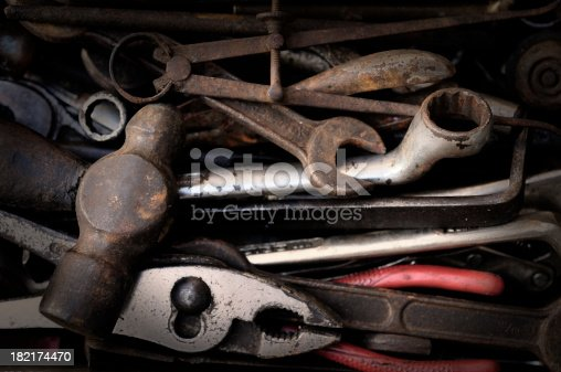 set of old and dirty rusty tools