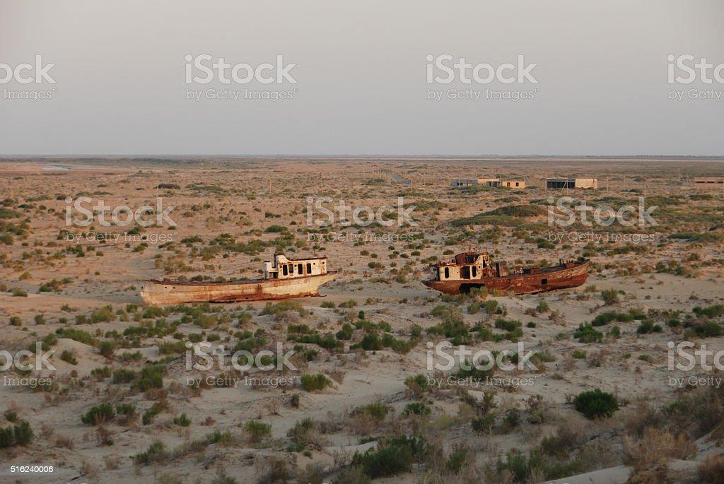 Rusty ships in Monyaq stock photo