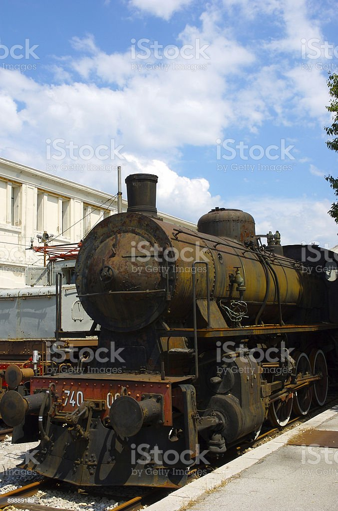 Arrugginito locomotiva a vapore foto stock royalty-free