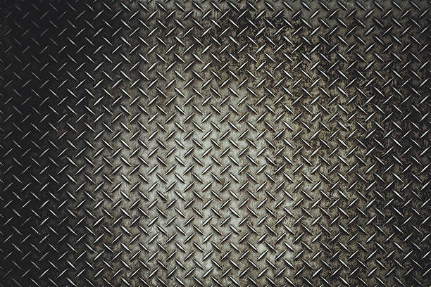 rusty steel diamond plate texture - rough stock photos and pictures