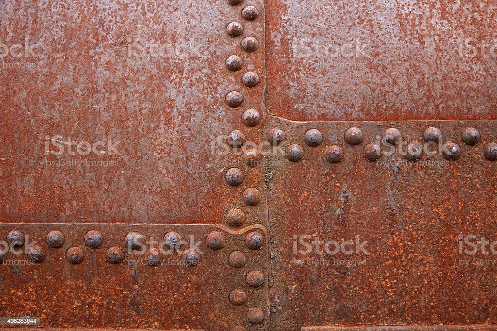 Rusty steel rivets stock photo