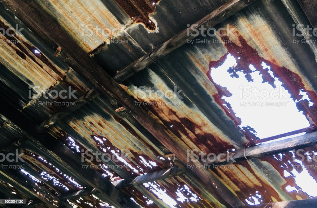 Rusty Tin Shade Roof stock photo
