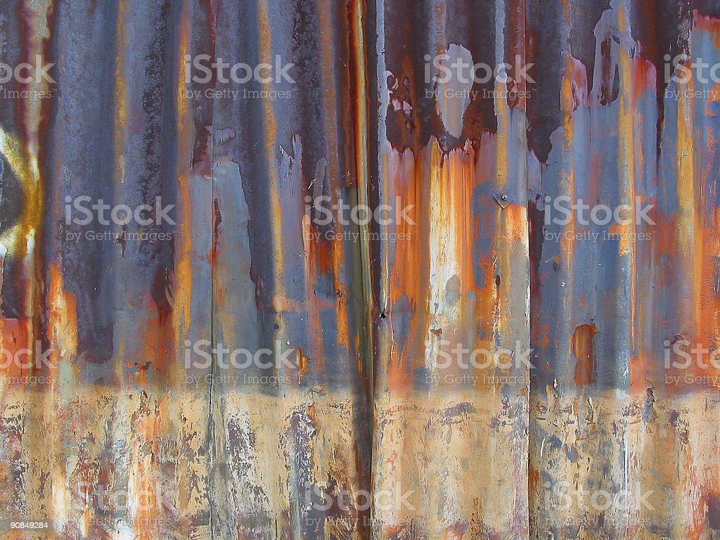 Rusty tin wall stock photo