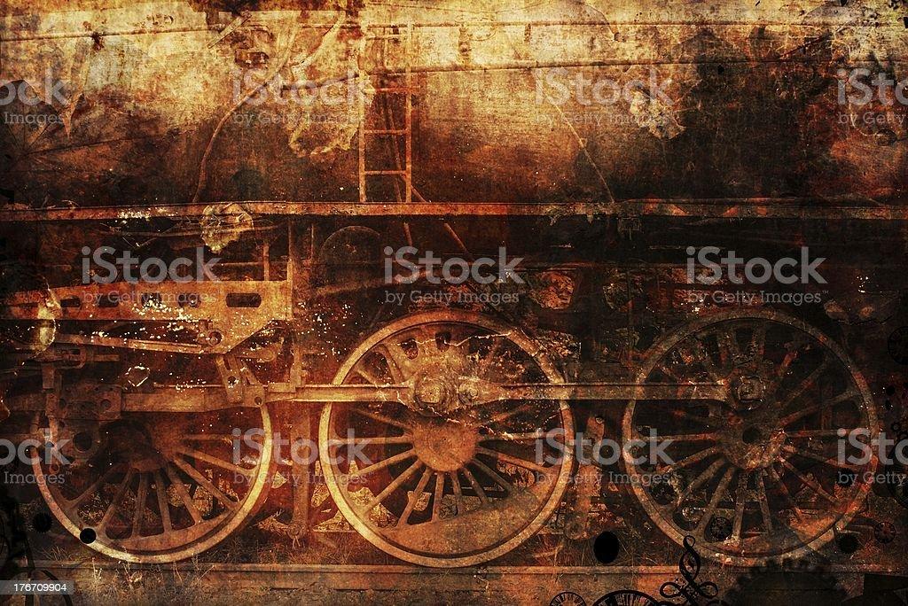 Zardzewiały Pociąg parowy-punk tło przemysłowe – zdjęcie