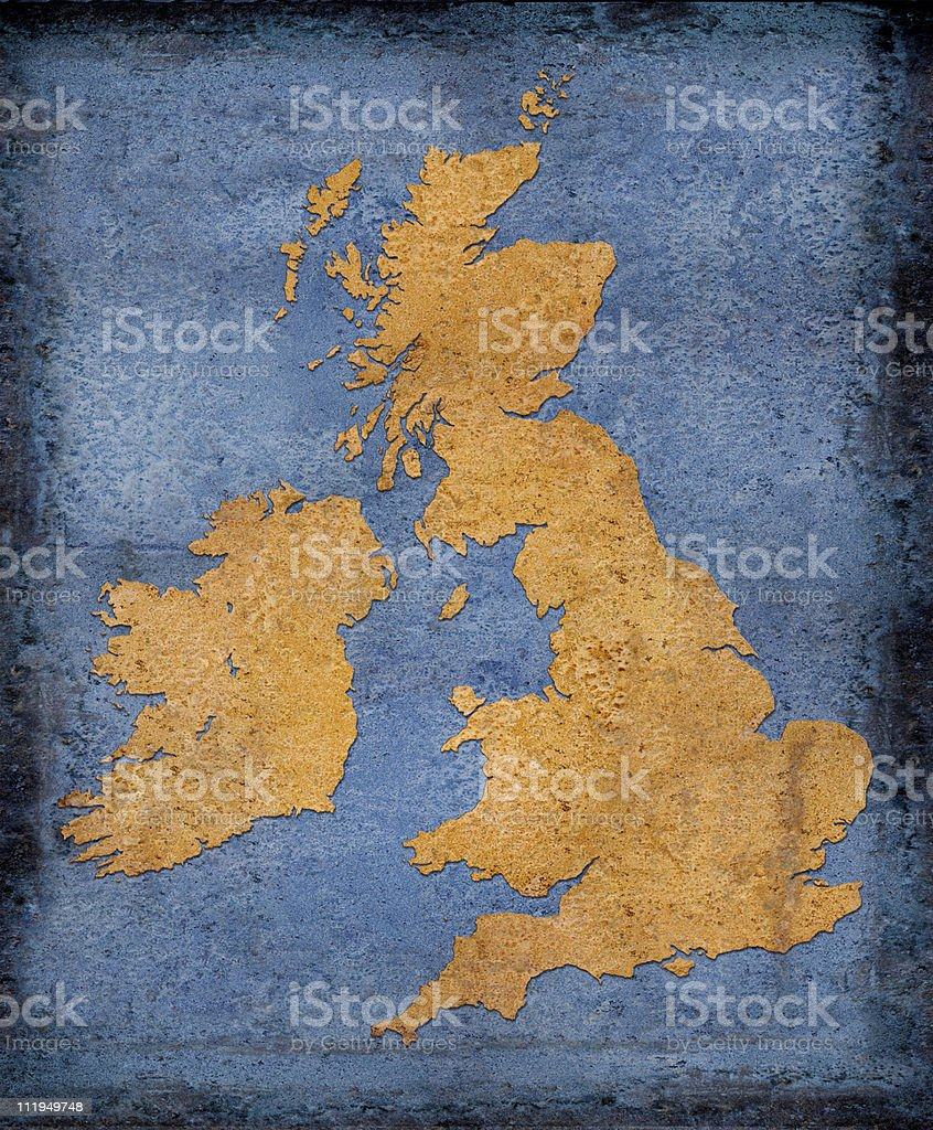 Rusty UK and Ireland on blue toned background royalty-free stock photo