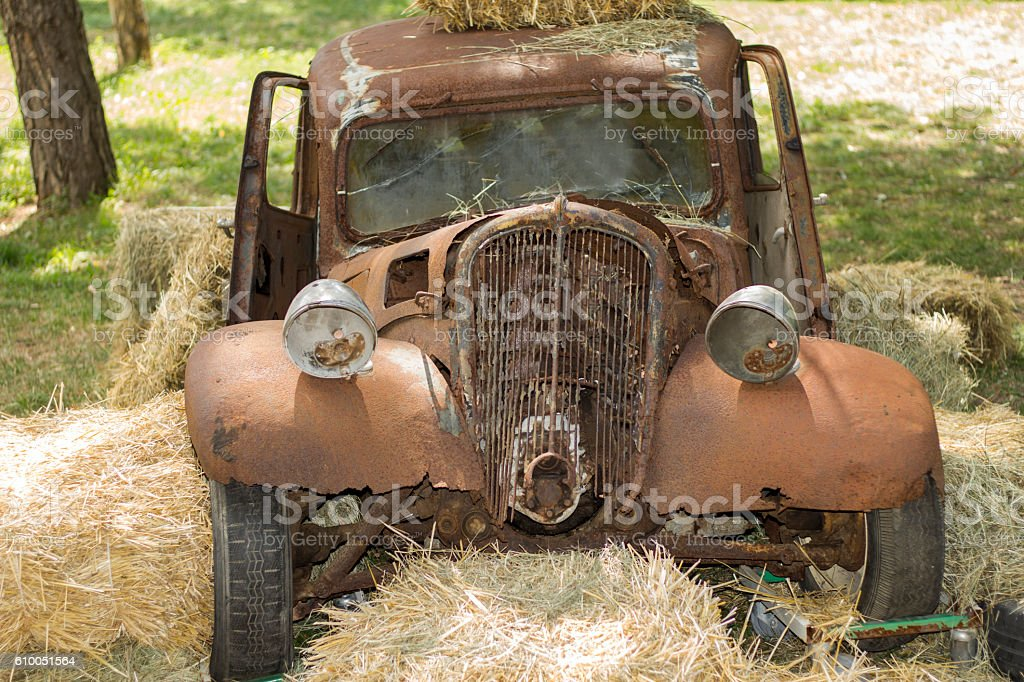 Rusty Vintage Car - old timer stock photo