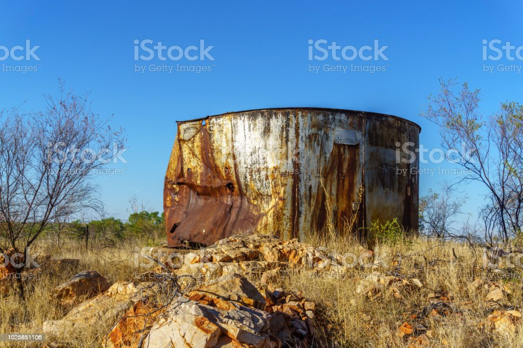 Rusty Water Tank In Australian Outback Stock Photo - Download Image