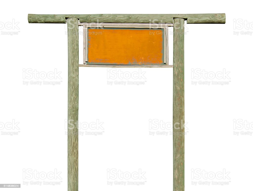 Rusty weathered metal blank sign on wood frame stock photo