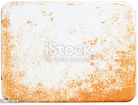Rusty white enamel sign isolated on white. Clipping path included. Put on your own text.