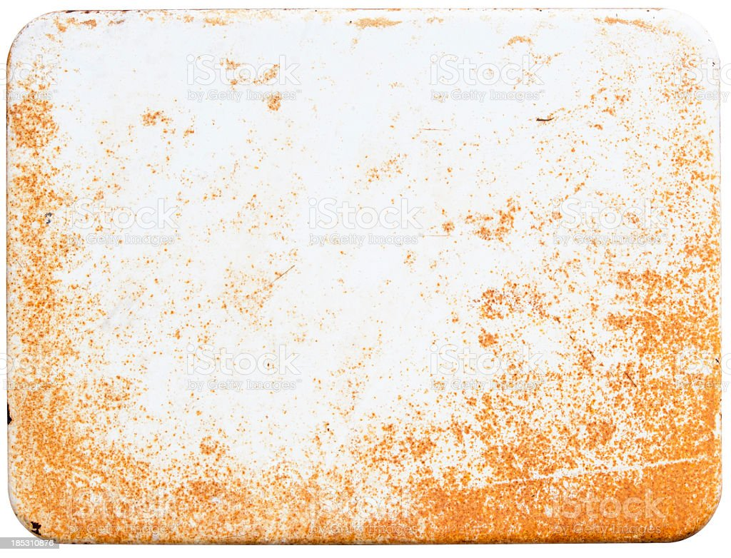 Rusty white enamel sign stock photo
