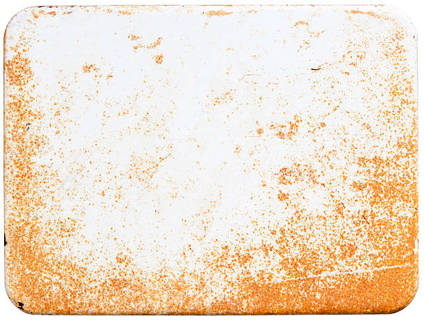 rusty white enamel sign - enamel stock photos and pictures