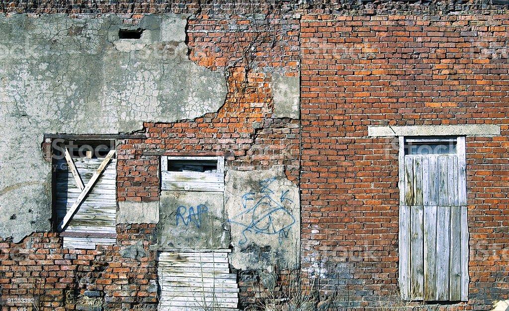 Rusty window and door, graffiti royalty-free stock photo