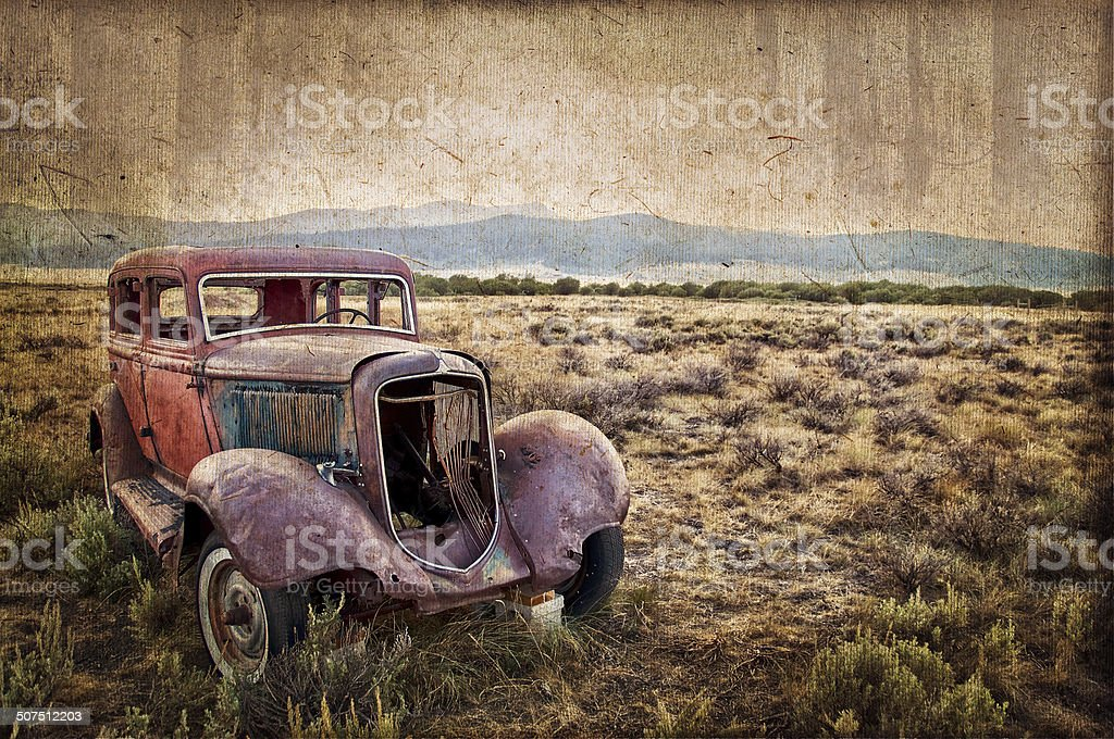 Rusty wrecked car, vintage style stock photo