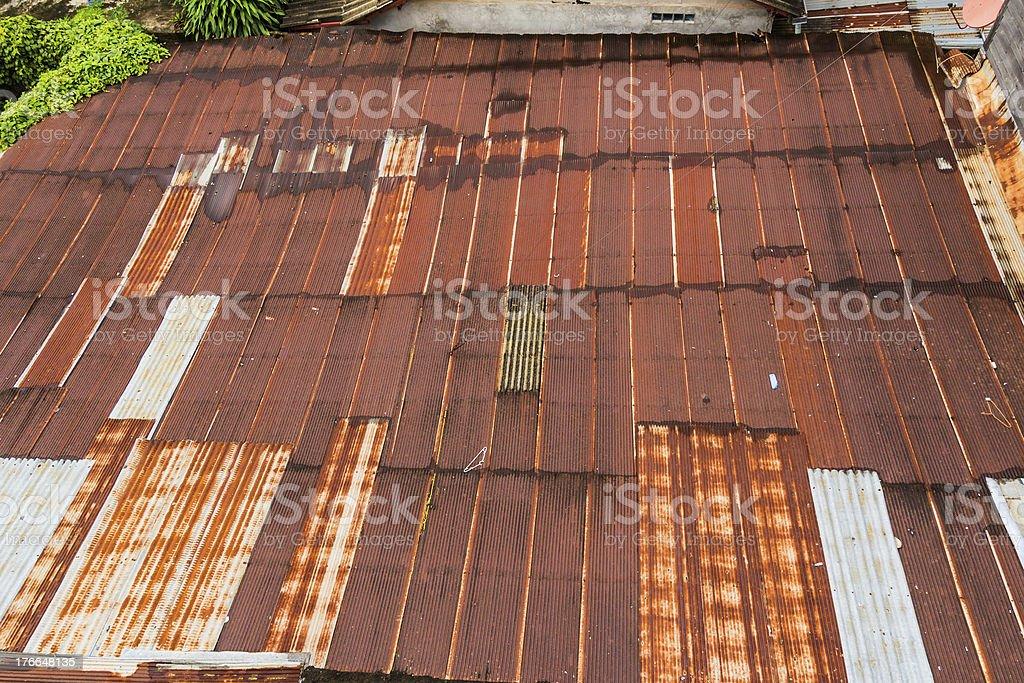 Rusty Zinc grunge roof royalty-free stock photo