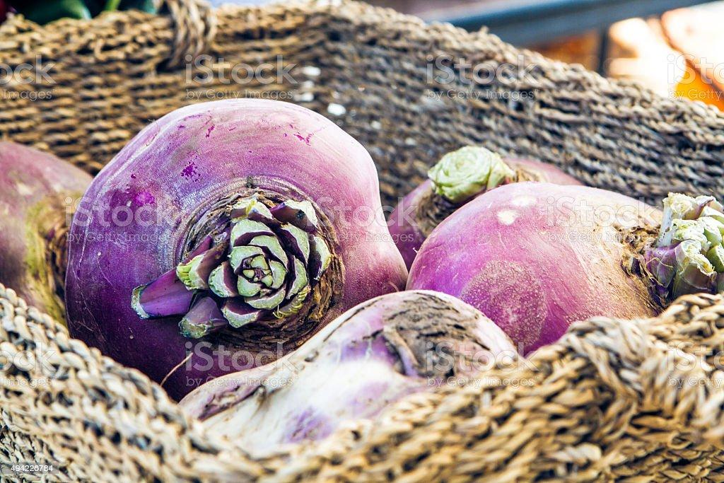 Rutabaga or Turnip at Organic Famers Market in Basket stock photo