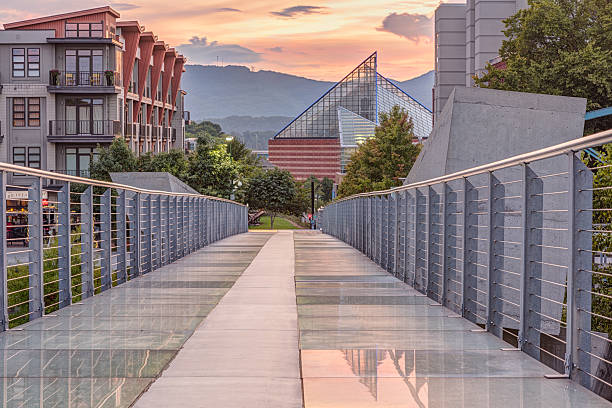 Ruth Holmberg Pedestrian Bridge at Sunset (HDR) The Ruth S. and A. William Holmberg Pedestrian Bridge in Chattanooga has a backlit glass floor and is popular with residents and tourists. Focus stacked HDR. Tennessee aquarium in background. chattanooga stock pictures, royalty-free photos & images