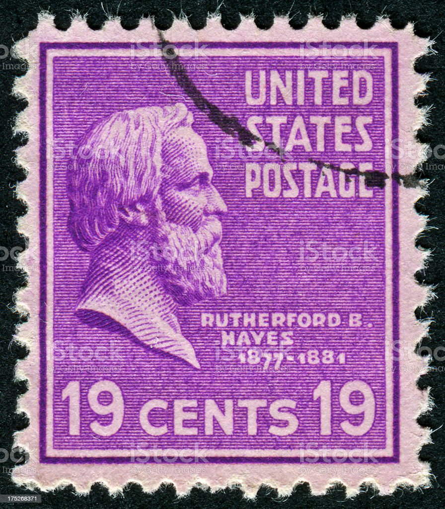 Rutherford B. Hayes Stamp stock photo