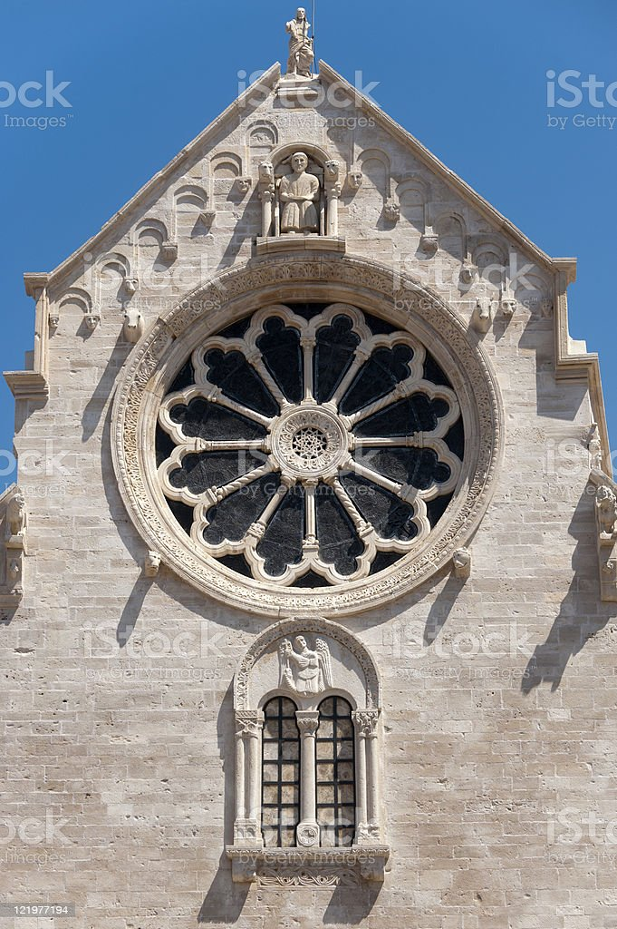 Ruvo (Bari, Puglia, Italy): Cathedral in Romanesque style, rose window royalty-free stock photo
