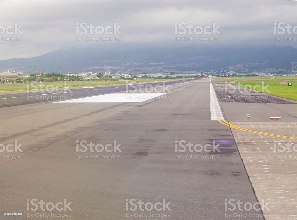 Ruway ot  Miyazaki Airport on cloudy summer day, Japan stock photo