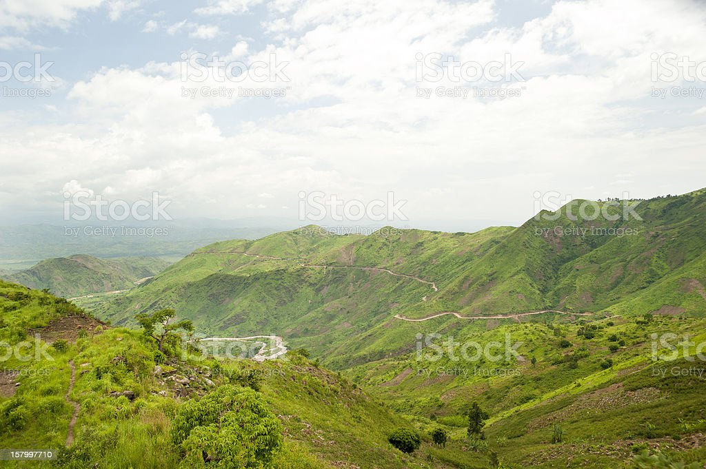 Ruzizi River in the green hills of Burundi stock photo