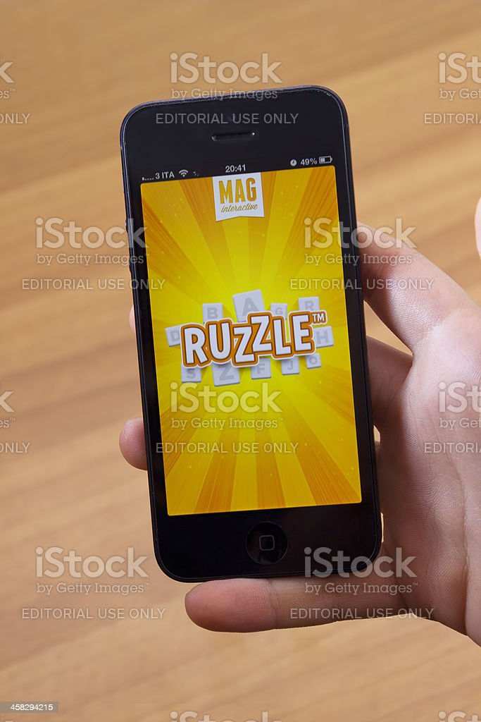 Ruzzle for Iphone 5 stock photo