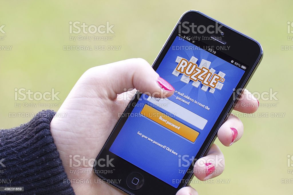 Ruzzle on iphone 5 stock photo