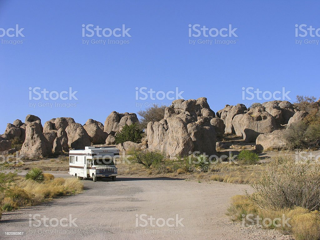 RVing in City of Rocks State Park royalty-free stock photo