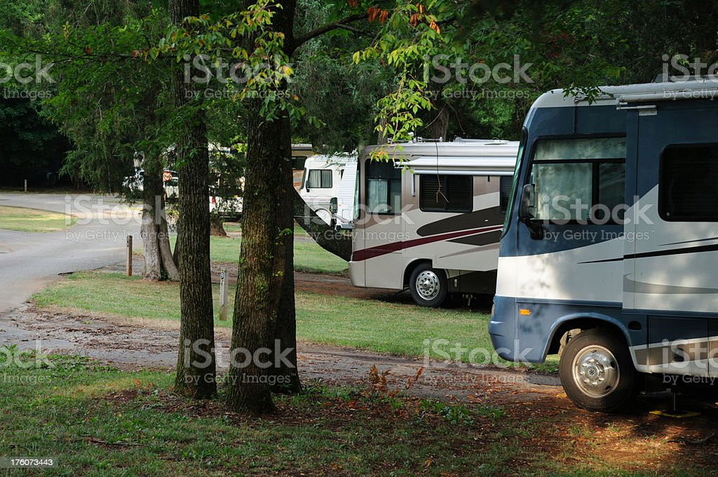 RVs in Campground royalty-free stock photo