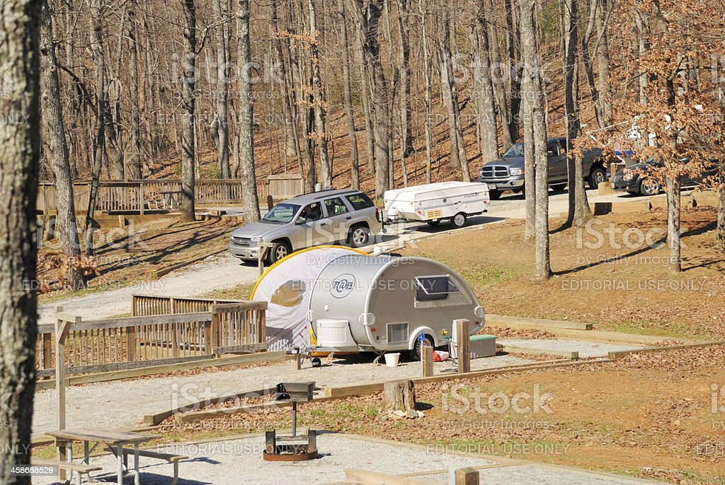 RVs in campground stock photo